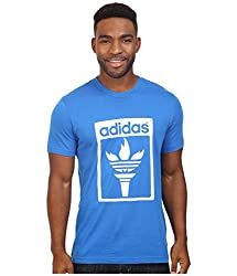adidas Originals Men's Originals Trefoil Fire Tee, Blue Bird, Large