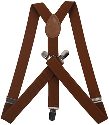 ORSKY Adjustable Leather Suspenders with Very Strong Clips for Men Coffee Brown Dress Bowties