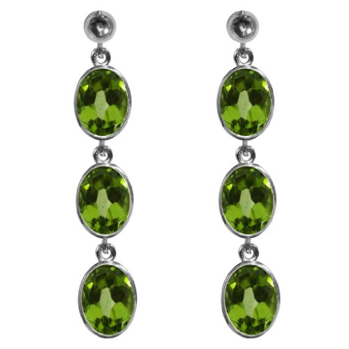 Stunning 9ct White Gold Ladies Triple Drop Oval Cut Dropper Earrings Set With Beautiful Peridot