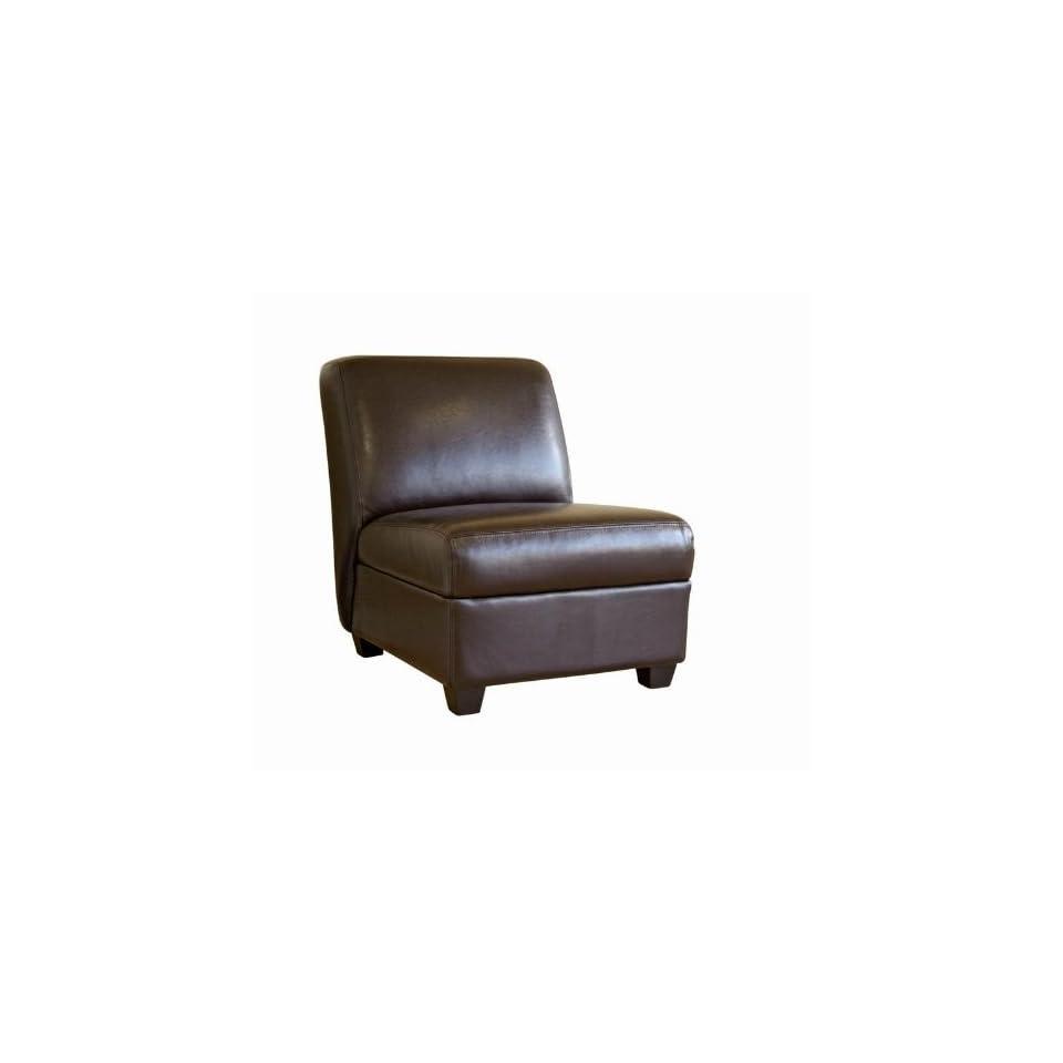 Dark Brown Full Leather Armless Club Chair
