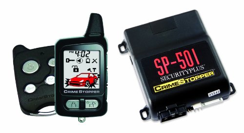 Crimestopper SP-501 SecurityPlus 2 Way Remote Start Paging Alarm System with FM 2-Way Rechargeable LCD Pager and 1 Way Backup Transmitter
