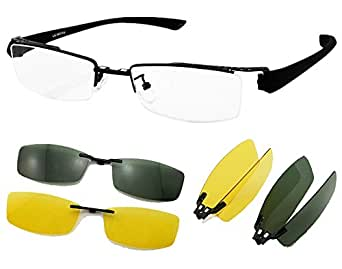 Eyeglass Frame With Magnetic Clip On Sunglasses : Amazon.com: Agstum Mens Half Rimless Myopia Glasses Frame ...