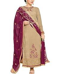 Wonder Villa Women's Faux Georgette Semi-Stitched Dress Material - ELIZA 5007_Brown