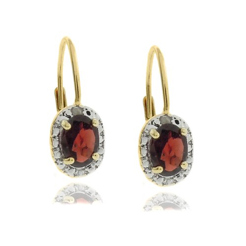 18k Gold Overlay Diamond Accent Garnet January Birthstone Leverback Earrings