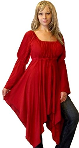 Lotustraders Blouse Top Shirt Peasant Renaissance Red One Size E456