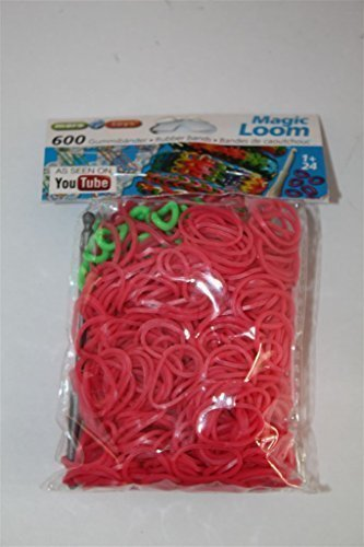 65015 - Loom Band pink 600 units/bag + Crochet Hook & Clips by maro toys