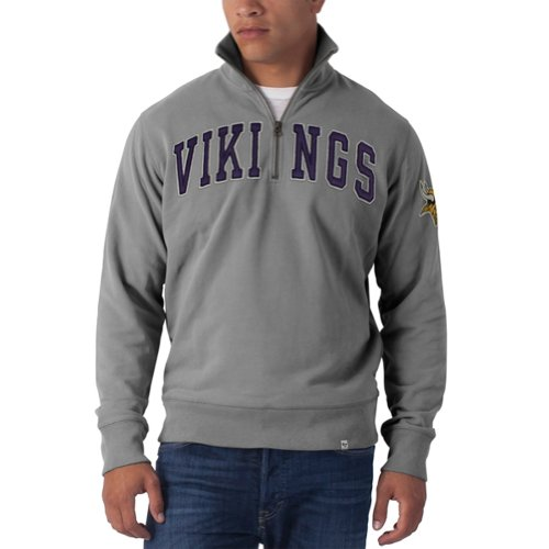 Nfl Minnesota Vikings Men'S Striker 1/4 Zip Jacket, Large, Wolf Grey front-36845