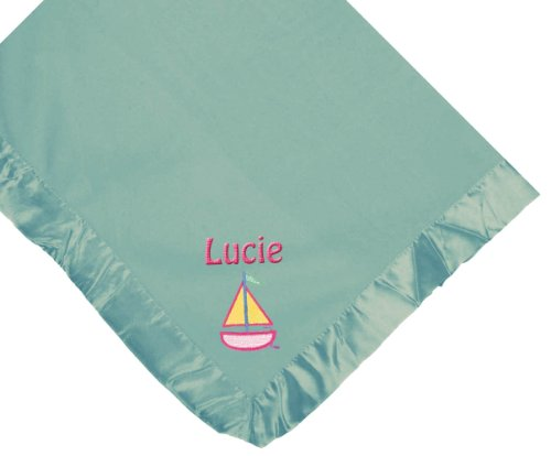 Sailboat Blue Soft Fleece Embroidered Personalized Baby Blanket - Custom Embroidery Hot Pink Thread front-1027177