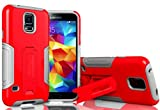 Search : myLife (TM) Cool Gray and Electric Red - Neo Hybrid Series (Built In Kickstand) 2 Piece + 2 Layer Case for NEW Galaxy S5 (5G) Smartphone by Samsung (External Hard Fit Armor With Built in Kick Stand + Internal Soft Silicone Rubberized Flex Gel Bumper Guard)