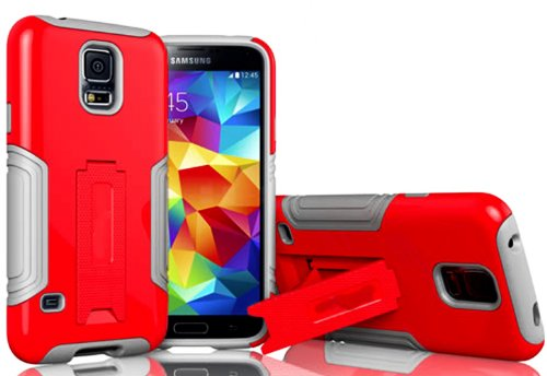 Mylife Cool Gray And Electric Red - Neo Hybrid Series (Built In Kickstand) 2 Piece + 2 Layer Case For New Galaxy S5 (5G) Smartphone By Samsung (External Hard Fit Armor With Built In Kick Stand + Internal Soft Silicone Rubberized Flex Gel Bumper Guard)