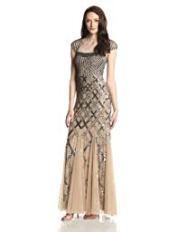 Adrianna Papell Women\'s Long Beaded Square Neck Dress With Cap Sleeves, Nude, 2