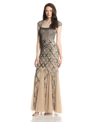 2731852a9a Adrianna Papell Women s Long Beaded Square Neck Dress With Cap Sleeves