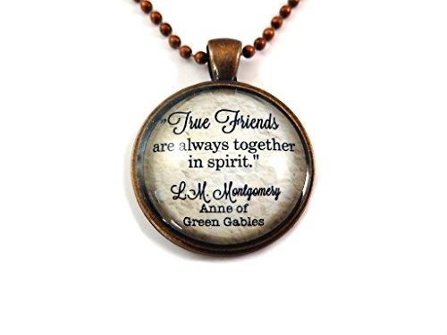 True Friends Quote Necklace Antique Copper Friendship Charm Pendant