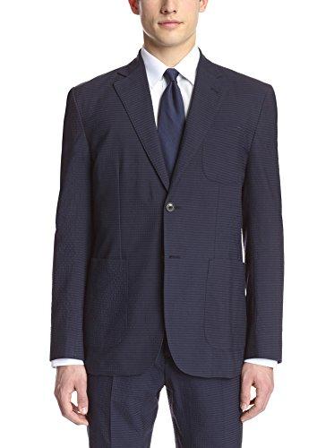 Hardy Amies Men's 2 Button Patch Pocket Seersucker Jacket