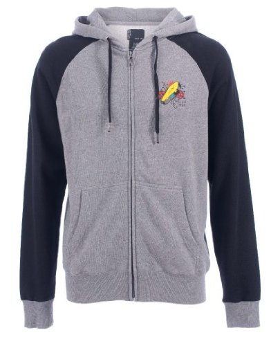 Iron Fist Mens Sailors Grave Raglan Zip Hoodie Grey: Medium