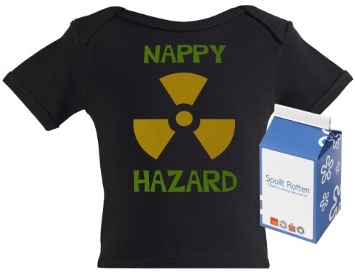Spoilt Rotten - Nappy Hazard Funny Baby Tee Shirt 100% Organic Sizes 6-12 months in funky Milk Carton BLACK