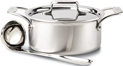 All-Clad BD553033 D5 Brushed Stainless Steel 5-Ply Bonded Dishwasher Safe Soup Pot with Lid and Ladle / Cookware, 3-Quart, Silver