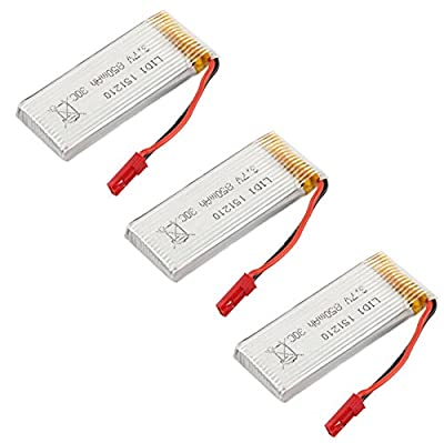 Czxin 3pcs Upgraded 3.7V 850mah Rechargeable Li-po Battery Spare Parts for SKY Hawkeye HM1315S HM1315W RC Quadcopter Drone