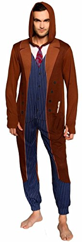 Doctor Who Tenth Doctor Adult One Piece Pajamas (X-Large)