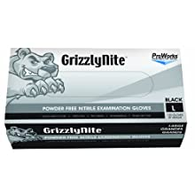 "Hospeco ProWorks GrizzlyNite GL-N105F Exam Grade Nitrile Glove, Powder Free, Disposable, 9.5"" Length, 4.3 mils Thick"