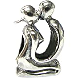 Valentines Sterling Silver Lover Kissing Couple Love Bead For European Charm 3mm snake Chain Bracelets