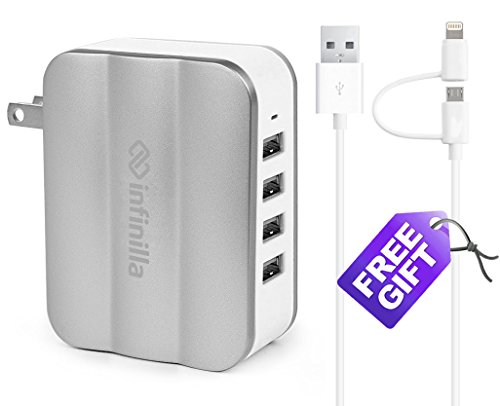 Infinilla 4-Port USB Wall Charger  Foldable Plug,