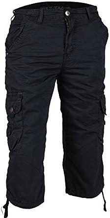Pantacourt Homme Cargo Bermuda Short Bleu Gris Beige Noir (34, Bleu)