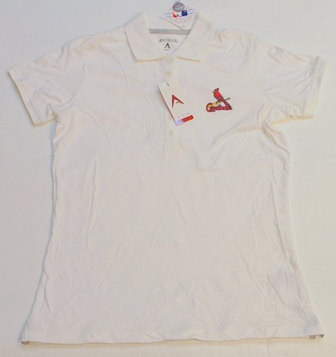 St Louis Cardinals Women's Antigua Spark Short Sleeve Golf Shirt White (M) at Amazon.com
