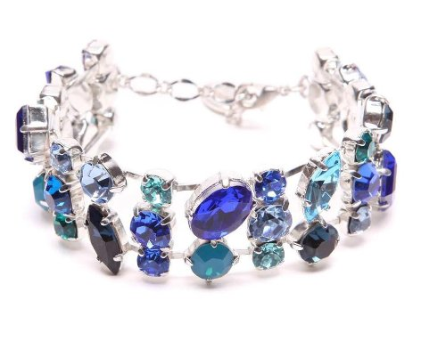 Swarovski Crystal Row Bracelet in Blue / Swarovski Crystal Bracelet in Blue / Blue Crystal Bracelet in One Row
