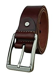 Heepliday Men\'s Soft Leather 15006 Belt Medium 32-34 Silver Buckle Red-Brown Leather