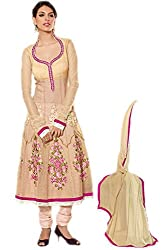 Pavani Women's Net Semi Stitched Dress Material (D1400002_Cream_Free Size)