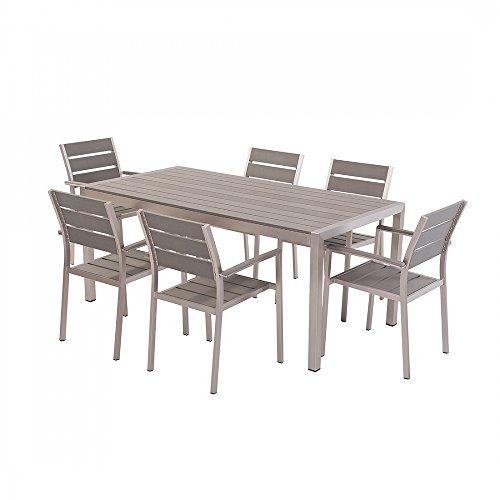Aluminium-Gartenmbel-Set-grau-Tisch-180cm-6-Sthle-Polywood-VERNIO