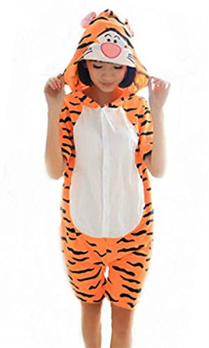 [Cameinic Women's Summer Cosplay Tiger Pajamas Animal sleepwear Onesie Cute,Tiger,S(5'2