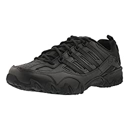 Skechers for Work Women\'s Compulsions Chant Lace-Up Work Shoe,Black,9 XW US