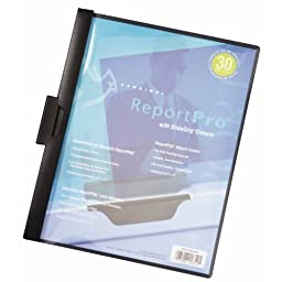 Cardinal ReportPro Covers with SlideGrip Clips, 30-Sheet Capacity, Letter Size, Black, Box of 25 (2203 BLA)