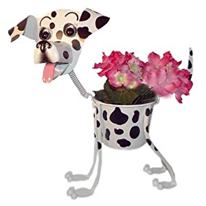 Dalmatian Dog Garden Planter with Bobble-Head & Tail