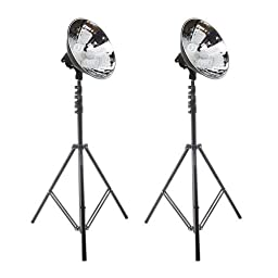 Flashpoint Cool Light 4 2-Light Kit with 2 Reflectors, 8 55W Fluorescent Bulbs, (2200W Equivalant), with Stands