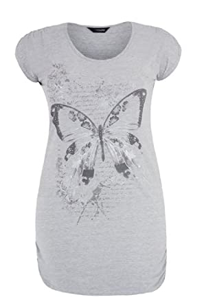 Yoursclothing Womens Plus Size T-shirt With Butterfly Print And Ruched Details Size 16 Grey