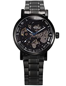 buy Mix&Rock Mens Mechanical Skeleton Automatic Self-Winding Black Stainless Steel Band Watches