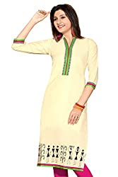 Karan Kurtis Womens Cotton Aline Kurta (Kurtis-0290-Xl_Off-White)