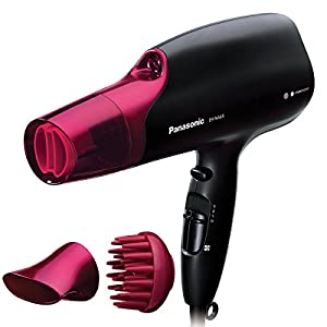 Panasonic Hair Dryer with Nanoe Technology and 3 attachments including Quick-Dry Nozzle, for Smooth, Shiny Hair and Professional Results , EH-NA65-K