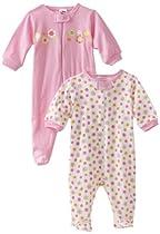 Gerber Baby-Girls Newborn 2 Pack Zip Front Flowers Sleep and Play , Pink, 0-3 Months