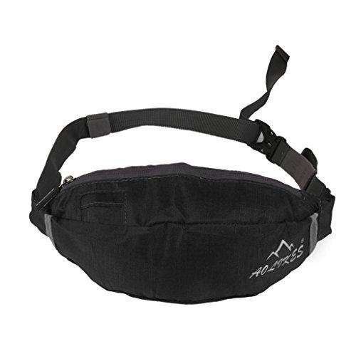 Oxford Hüfttaschen Stoff Fitness Taille Tasche Reißverschluss Beutel Gürtel Brieftasche Sport Reise (Schwarz)