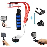 Fomito Professional Porable Mini Handle Camera Video Stabilizer + Tripod Mount Adapter + Phone Clip For Canon Nikon Sony Digital Compact Camera Camcorder DV DC DSLR SLR Phone GoPro Hero