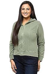 GRAIN Olive Green Regular fit Solid Plain Autumn Cotton Jackets for Women