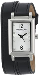 Stuhrling Original Women's 810.SET.01 Audrey Paris Swiss Quartz Black Wrap-Around Leather Watch with Additional Strap