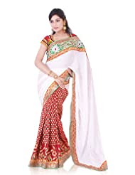 IndusDiva Crepe and Brocade Georgette Cream and Maroon Half and Half Saree