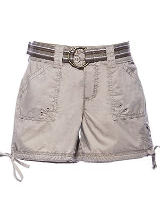 Hippie Ladies/Women's 100% Cotton Summer Cargo Hot Shorts W/ Belt Beige 6
