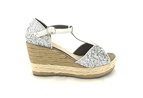 AwAy sandalo zeppa corda glitter argento sandal wedge silver pelle leather