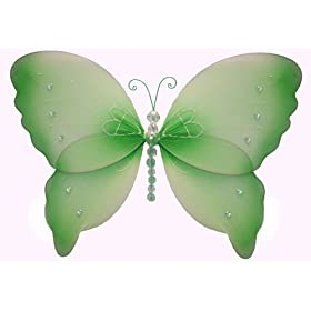 Green Crystal Butterfly nylon hanging ceiling wall baby nursery room wedding decor decoration
